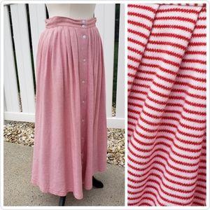 🆕VTG Talbots High Waisted Red Striped Maxi Skirt